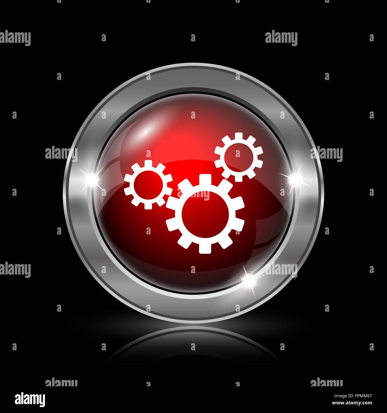 Settings Icon Metallic Internet Button On Black Background Stock Photo Alamy