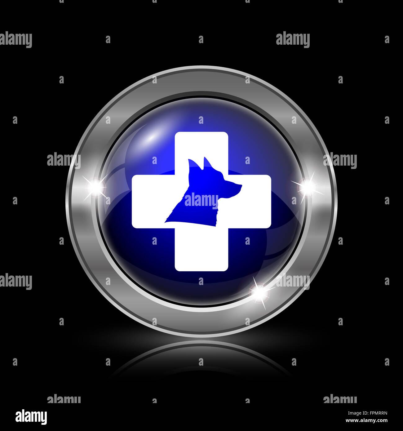 Veterinary icon. Metallic internet button on black background. - Stock Image
