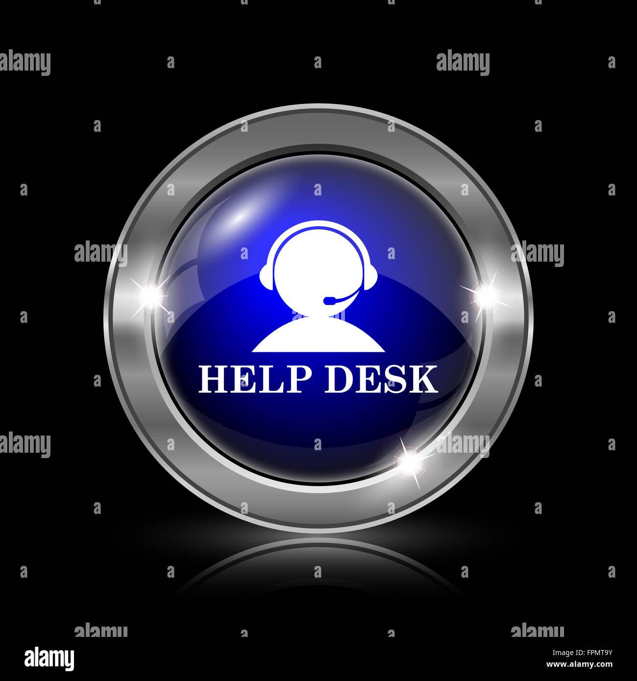 Helpdesk Icon. Metallic Internet Button On Black Background.