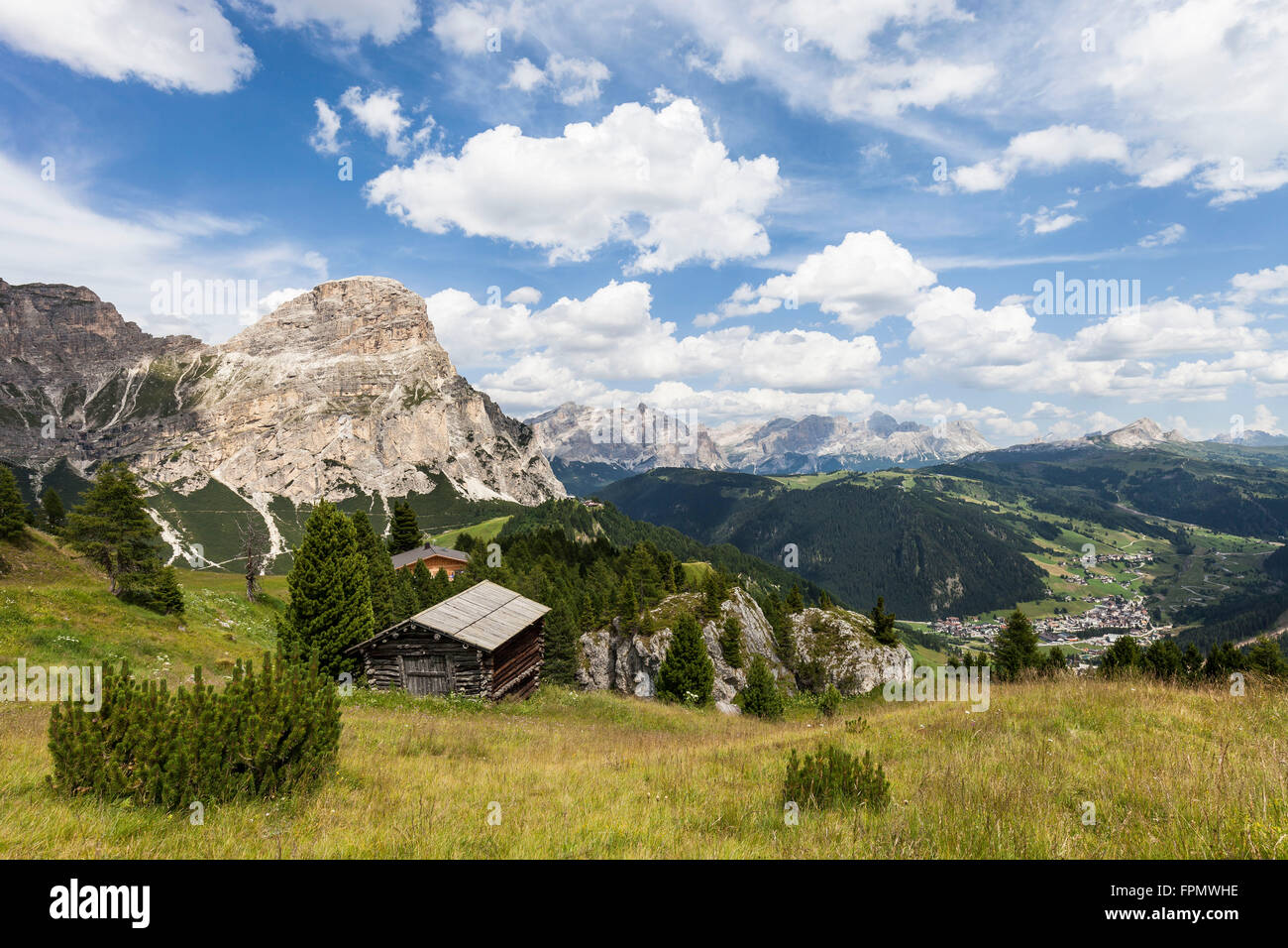 View from the Kolfuschger high route in the Gadertal, in the valley Corvara, on the left the mountain Sass Songher, Stock Photo