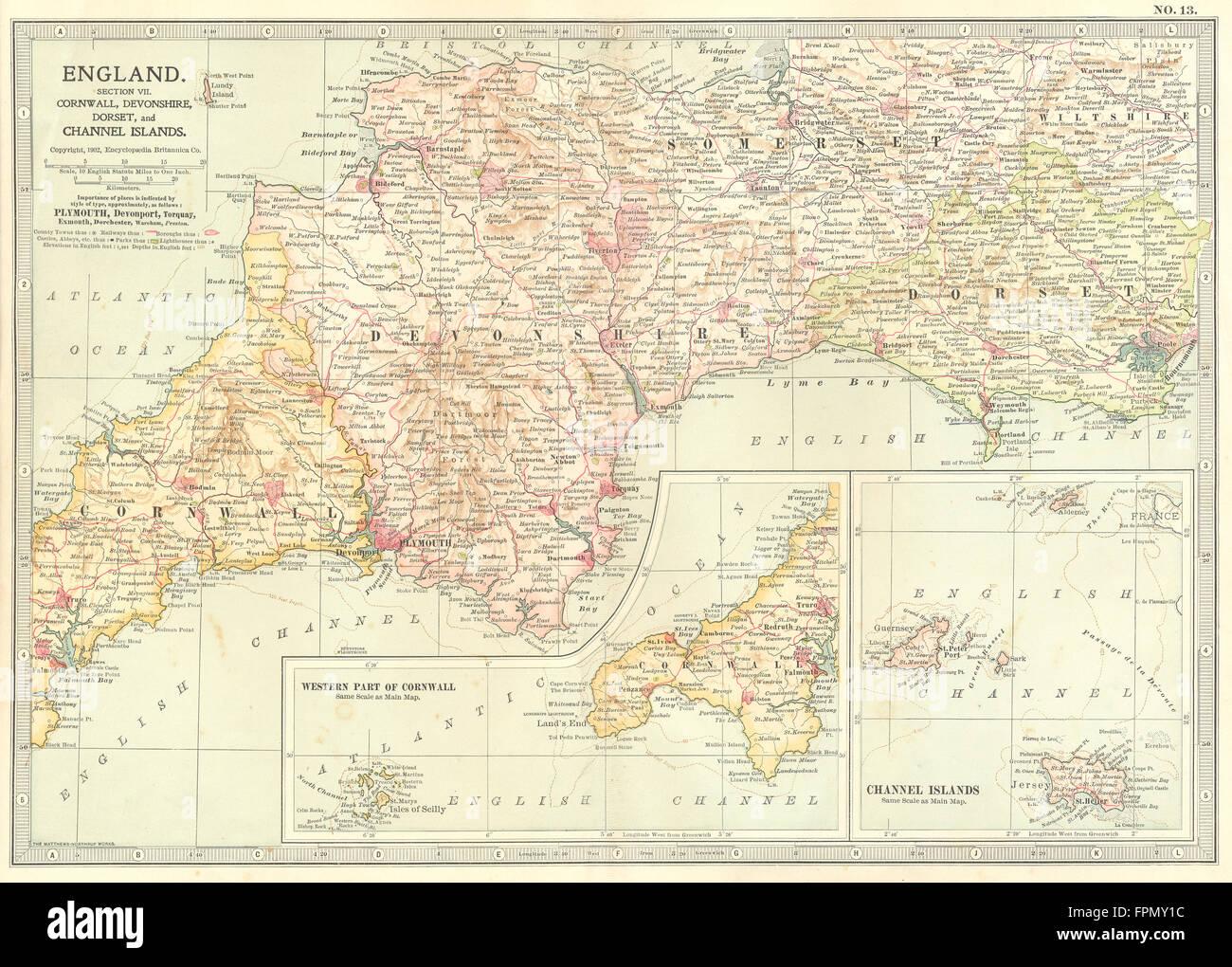 South Devon England Map.South West England Cornwall Devon Dorset Somerset Channel Islands