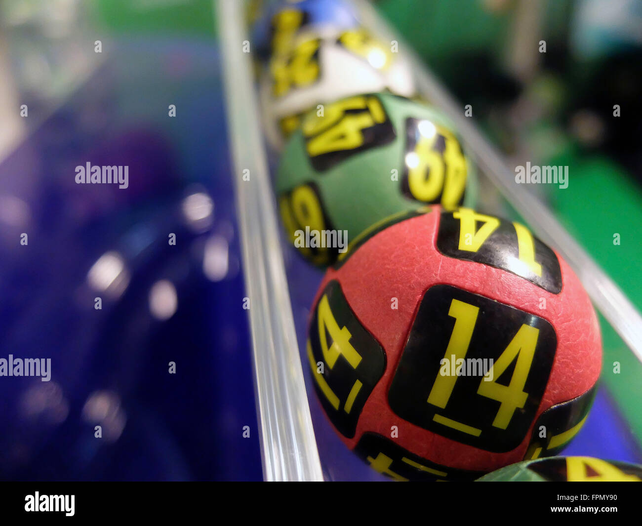Image of lottery balls during extraction of the winning numbers. - Stock Image