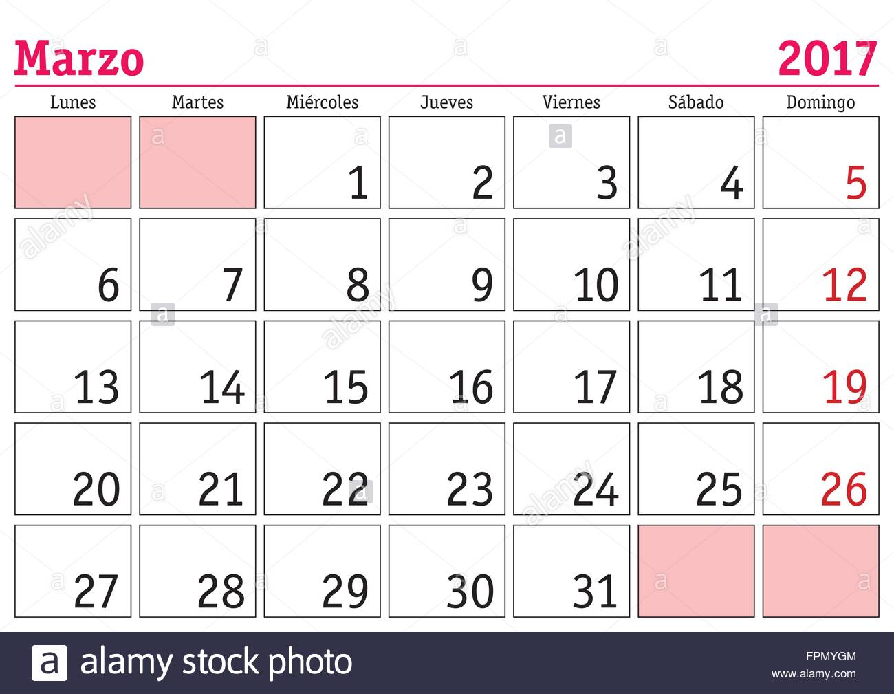 March Month In A Year 2017 Wall Calendar In Spanish Marzo