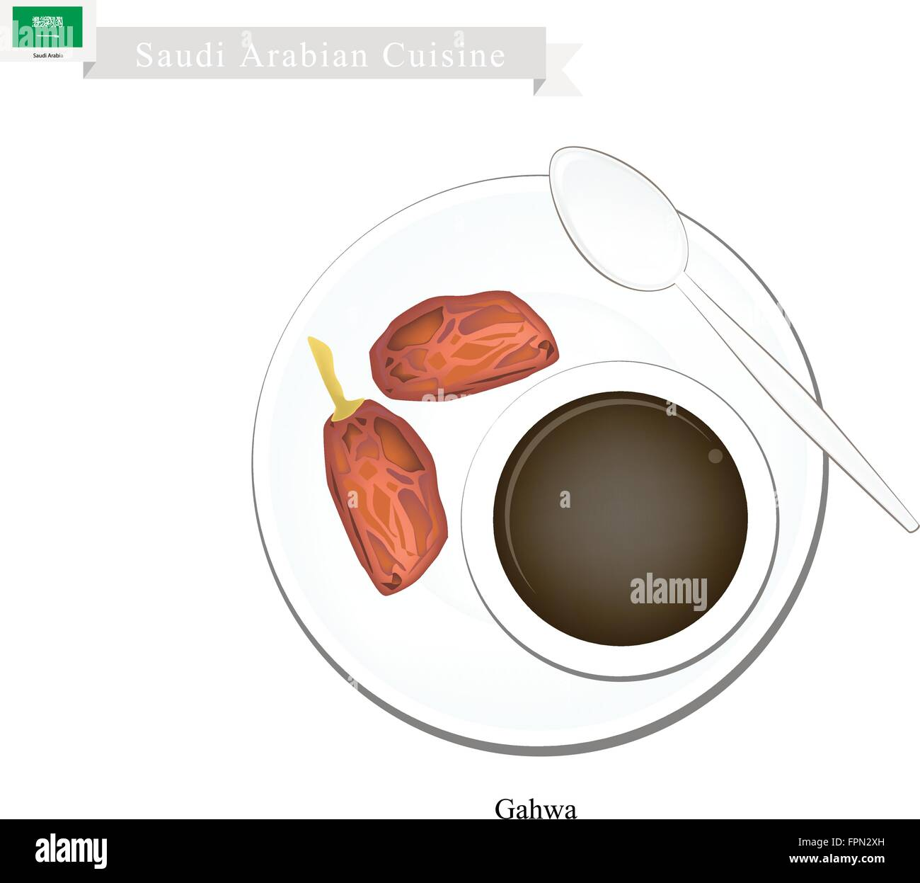 Saudi Arabian Cuisine, Arabic Coffee or Coffee Brewed from Dark Roast Coffee Beans Spiced with Cardamom. A Popular - Stock Vector