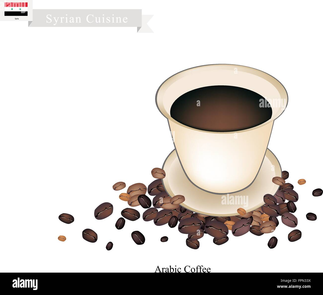 Syrian Cuisine, Arabic Coffee or Coffee Brewed from Dark Roast Coffee Beans Spiced with Cardamom. One of The Popular - Stock Vector