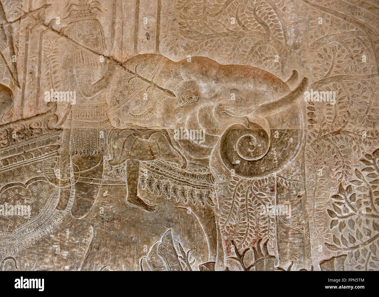 Angkhor Wat, Cambodia - January 29 2016:  Bas relief showing an elephant and a soldier the army of 11th Century Stock Photo