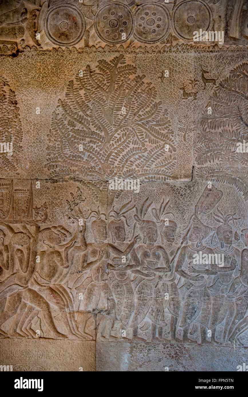 Angkhor Wat, Cambodia - January 29 2016:  Bas relief showing the wives and servants  of the 11th Century King Suryavarmen - Stock Image