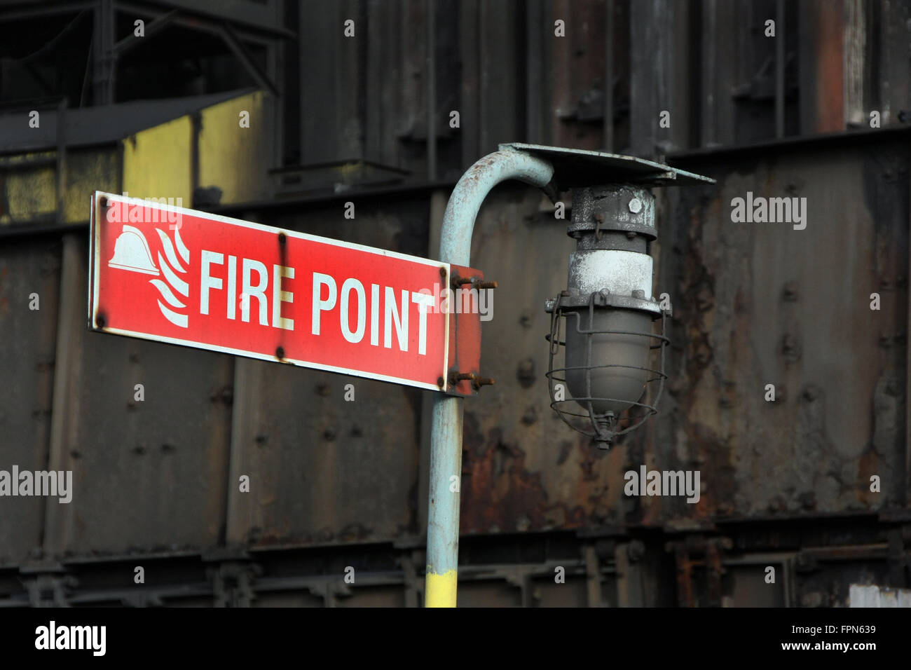 Fire point sign with light. - Stock Image