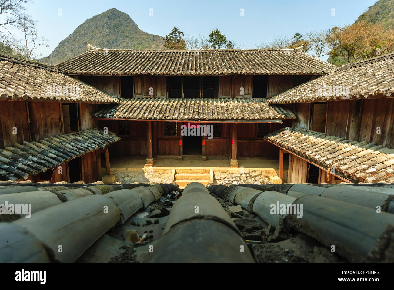 Ha Giang, Vietnam - March 18, 2016: Old building at Sa Phin Town in Ha giang province, Vietnam Stock Photo