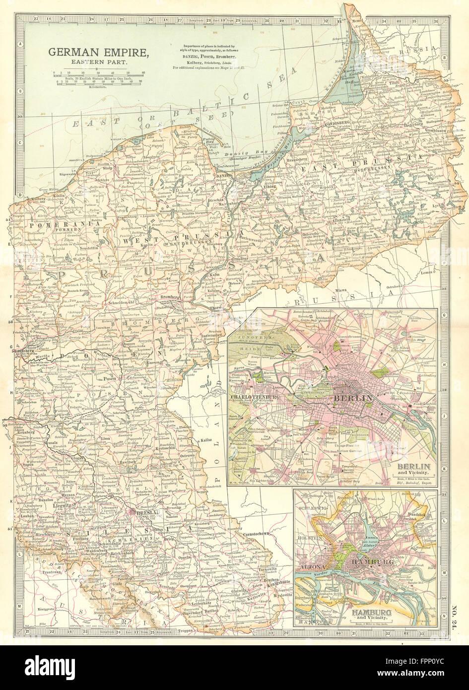 PRUSSIA POLAND POSEN SILESIA: Berlin Hamburg.Shows battlefields/dates, 1903 map - Stock Image