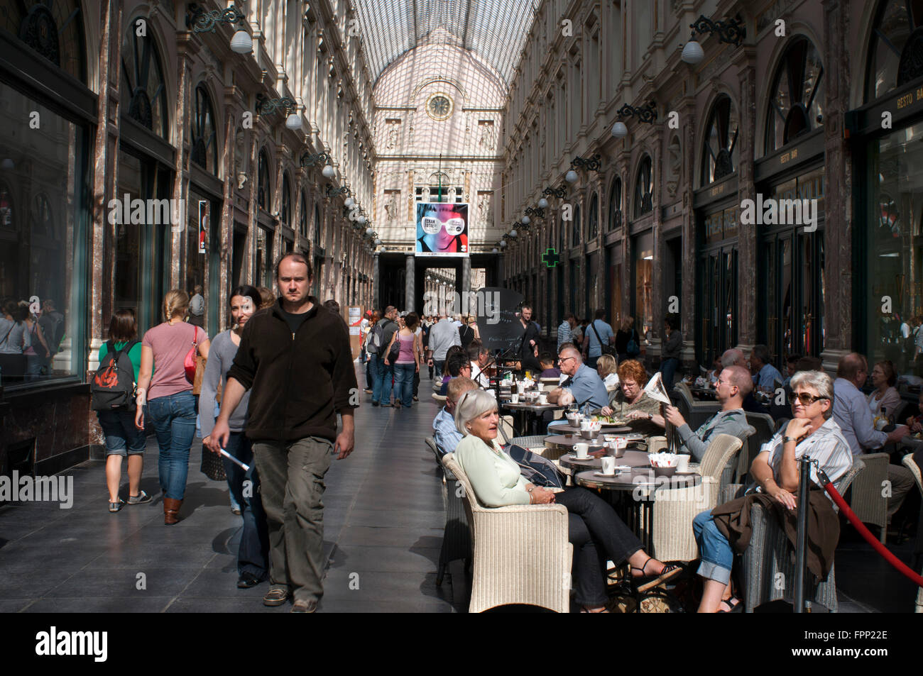 Restaurants at Galeries St Hubert shopping arcade in the city centre, Brussels, Belgium. Galeries St-Hubert. Cafeterias - Stock Image