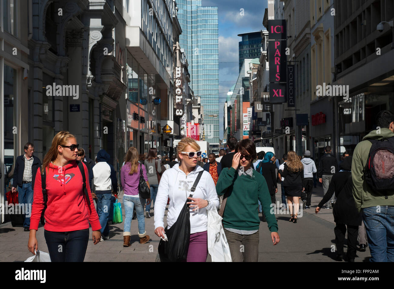 Rue Neuve, New Street, Brussels, Belgium. Comercial area. This is the shopping street par excellence the center - Stock Image