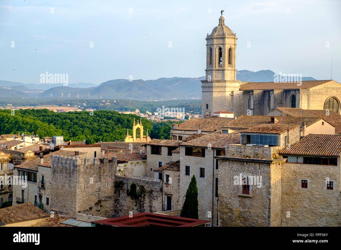 Panoramic of Girona, Catalonia, Spain Stock Photo