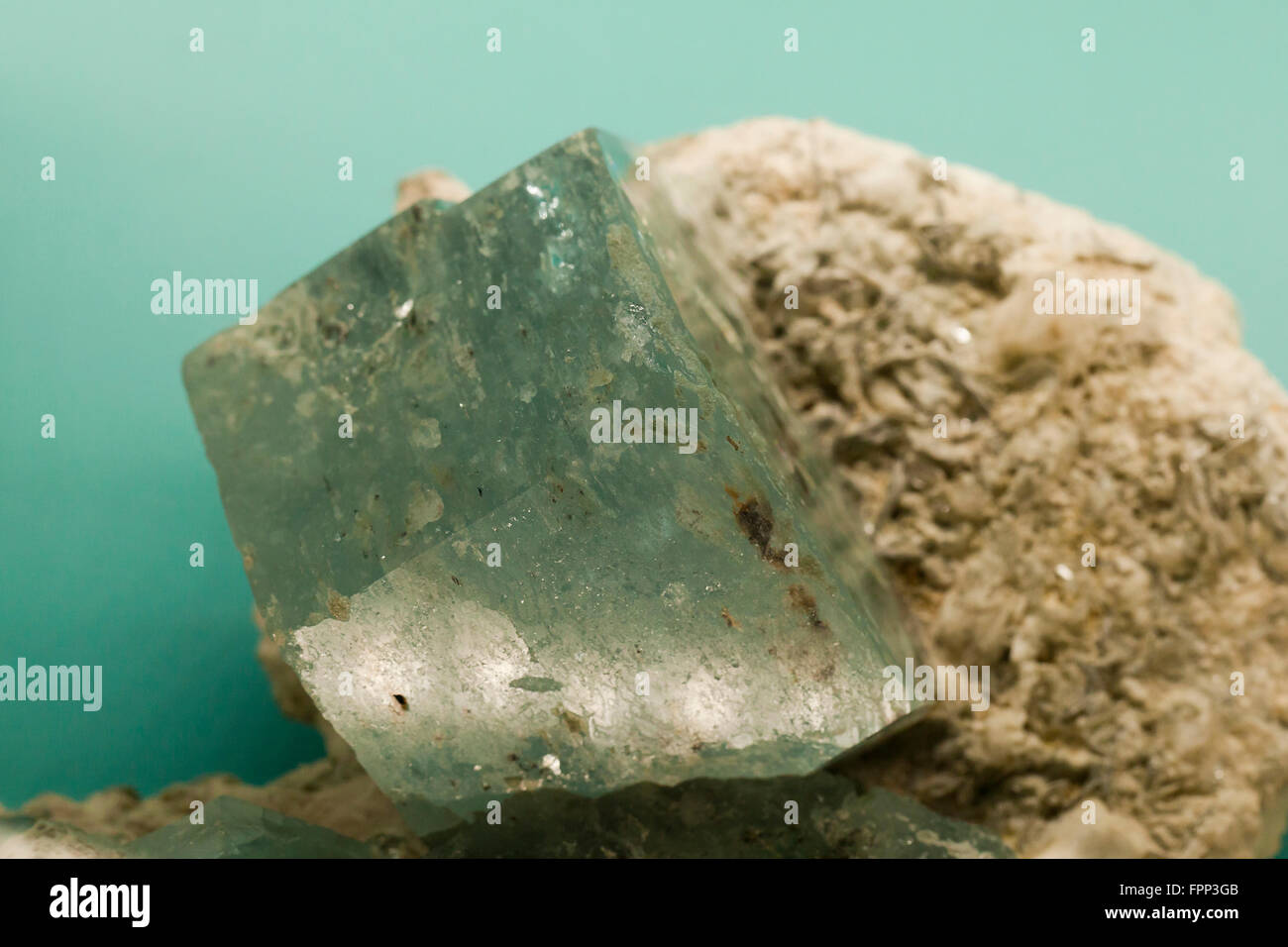 Green Fluorite cube in matrix - Stock Image