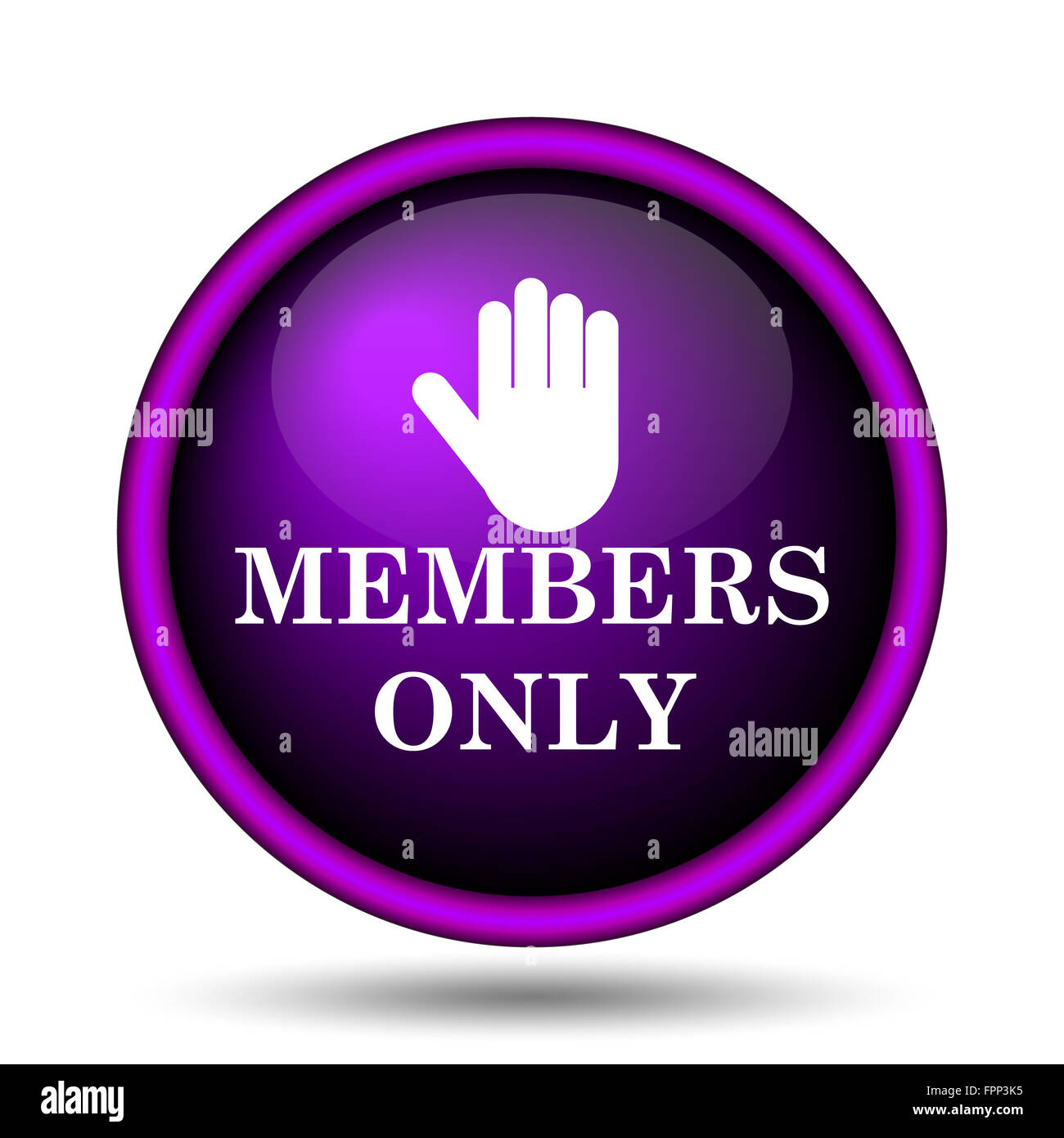 Members only icon. Internet button on white background. - Stock Image