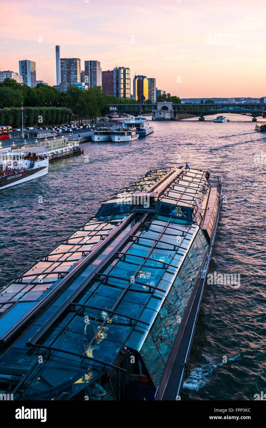 Urbanscape in the Seine river in Paris in France - Stock Image