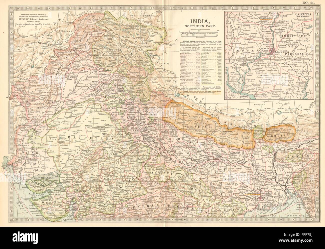 INDIA NORTH NEPAL.Kashmir Rajputana Punjab Calcutta.w// battlefields 1903 map