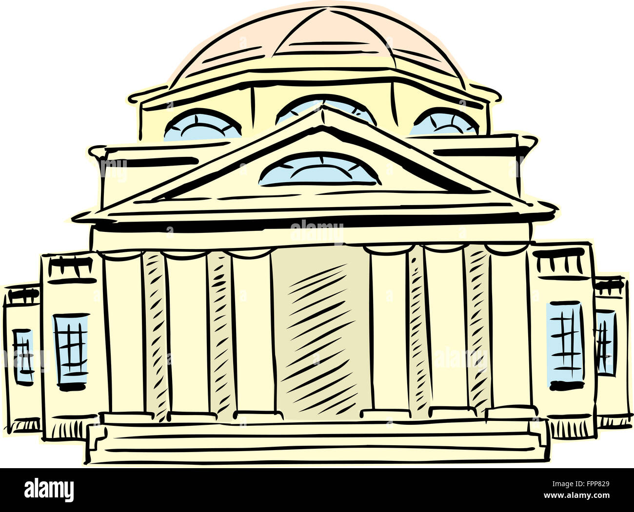 Exterior front view on single neoclassical building with obscured doorway and domed roof - Stock Image