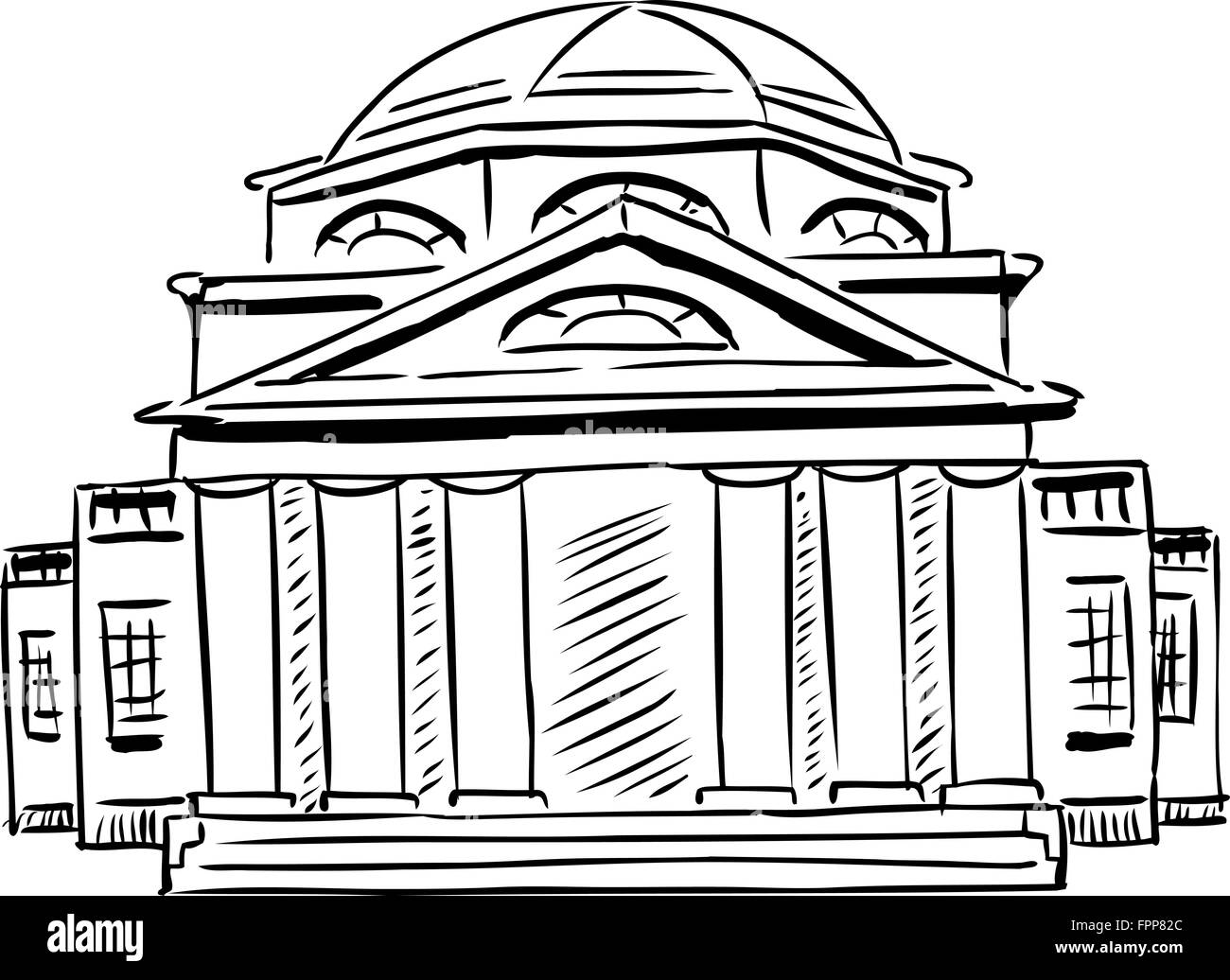 Outlined exterior front view on single neoclassical building with obscured doorway and domed roof - Stock Image