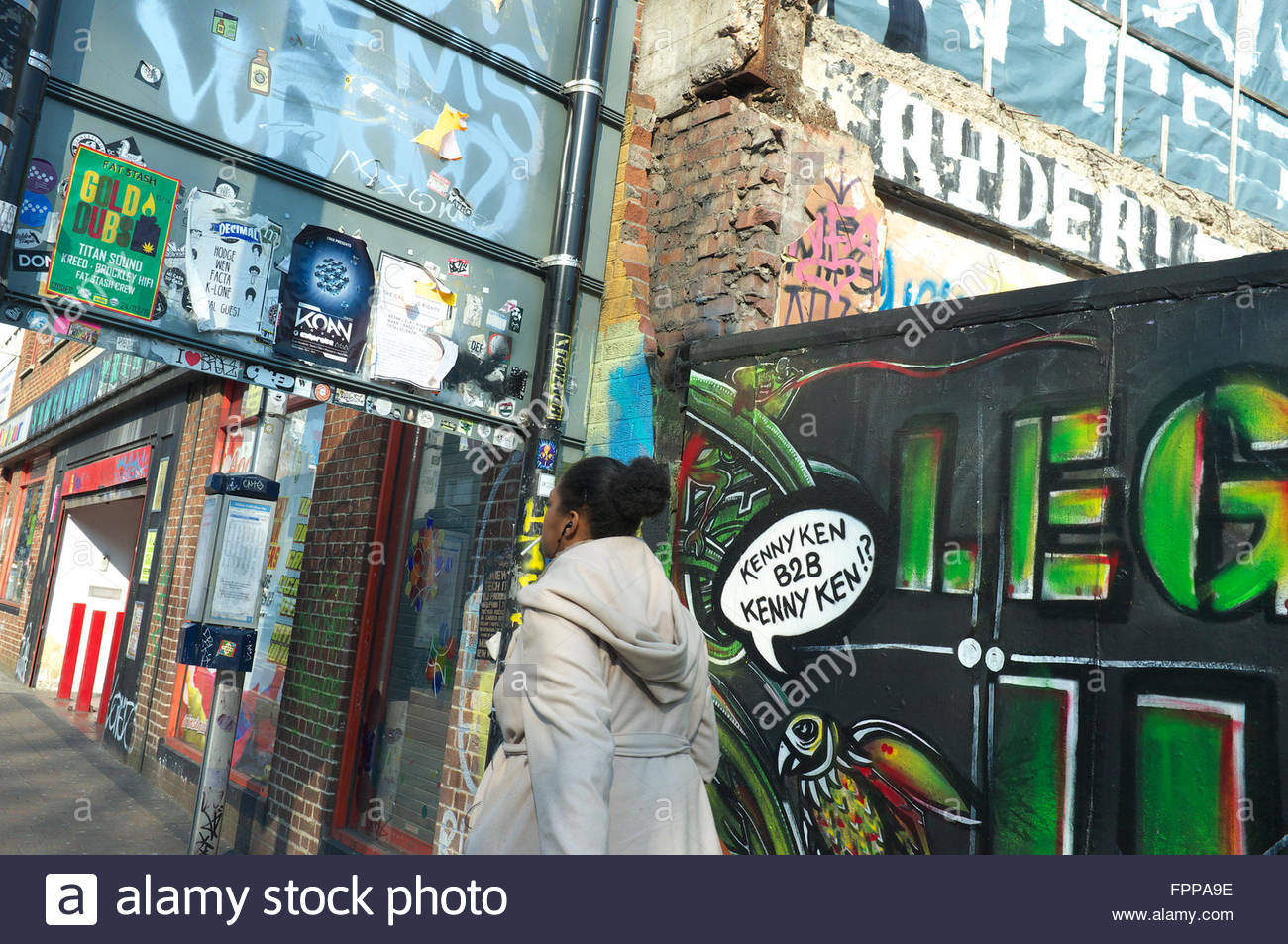 Street scene of graffiti and urban art, in Stokes Croft, Bristol, UK. - Stock Image