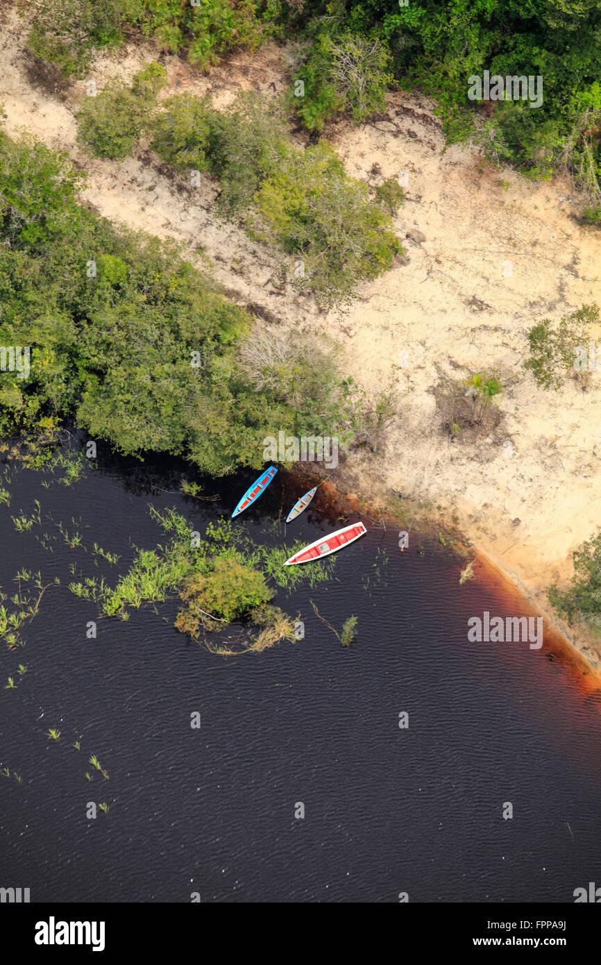 Boats on an Amazon creek - Stock Image