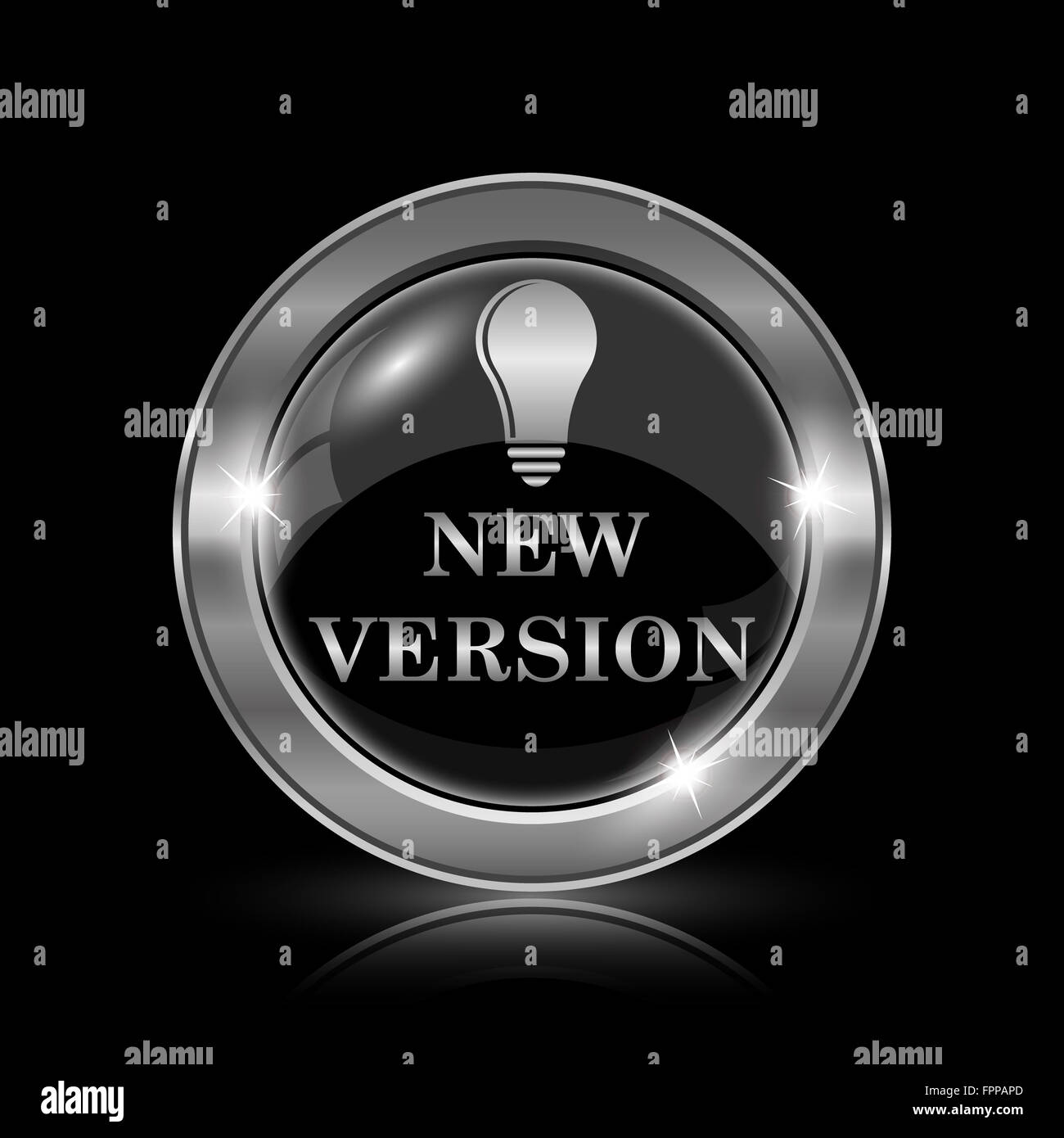 New version icon. Internet button on black background. - Stock Image