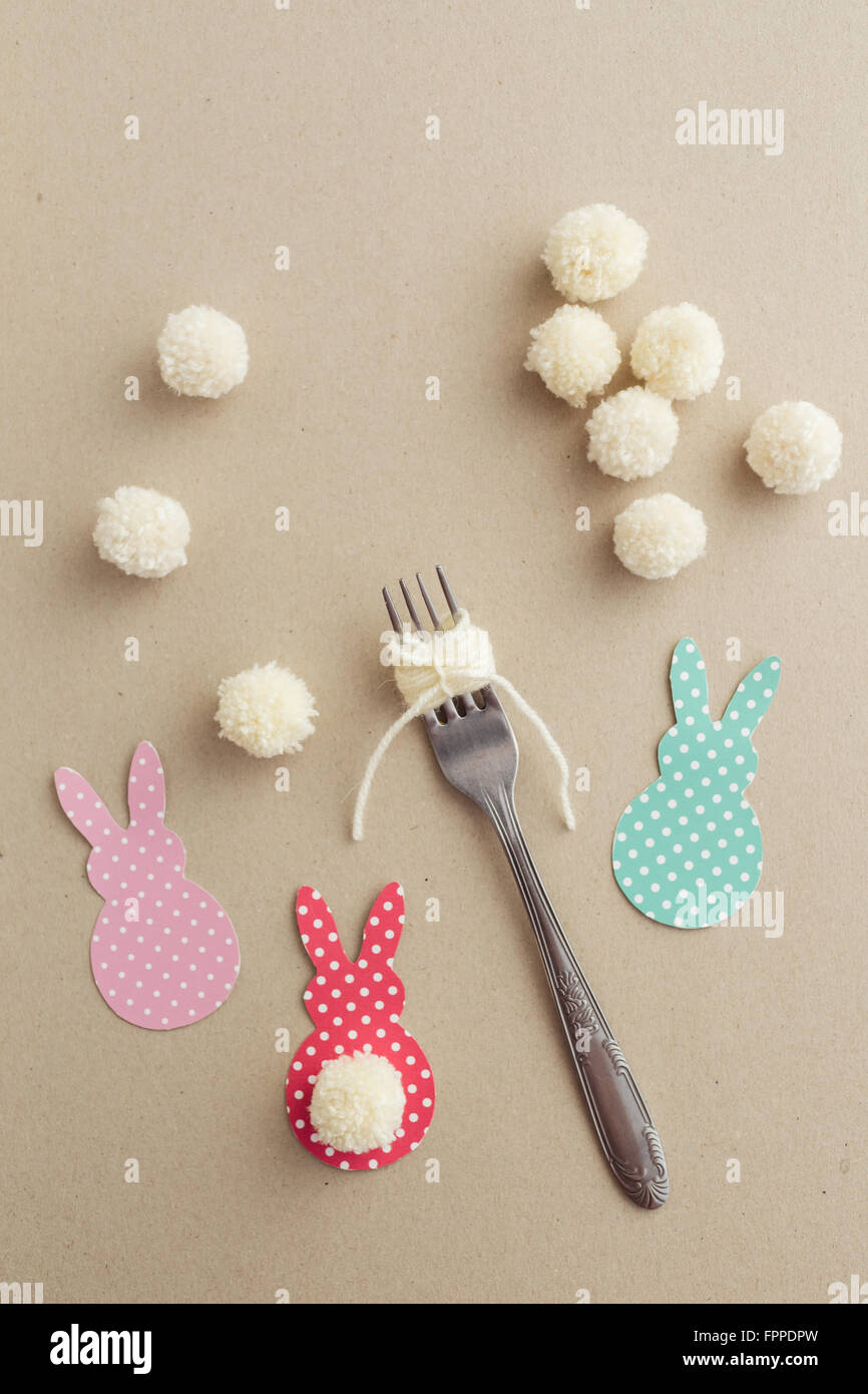 Easter Craft Of Making Yarn Pom Pom Bunny Tail With A Fork Stock