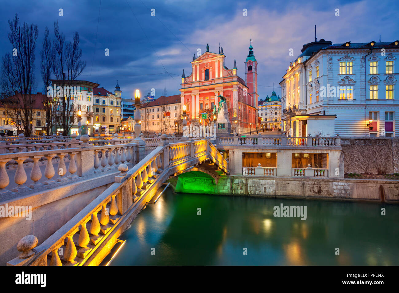 Ljubljana. Image of Ljubljana, Slovenia during twilight blue hour. - Stock Image
