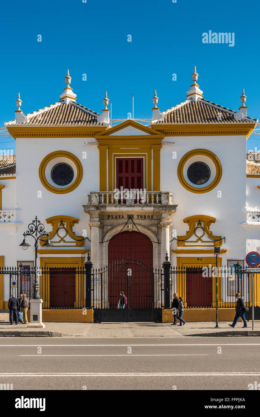 Plaza de toros de la Real Maestranza de Caballeria de Sevilla, Seville, Andalusia, Spain Stock Photo
