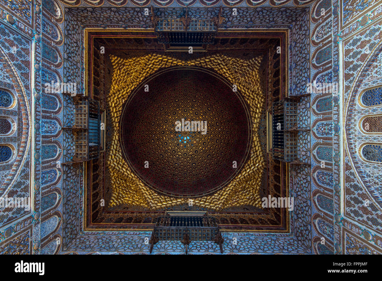 The Hall of Ambassadors covered by a majestic dome of gilded wood, Alcazar, Seville, Andalusia, Spain Stock Photo