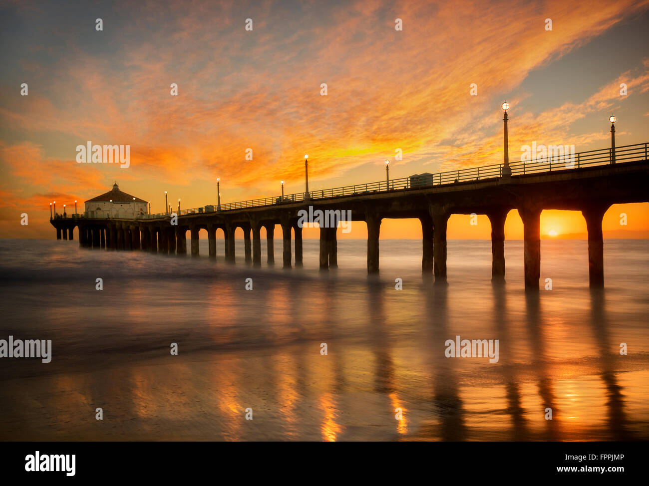 Manhattan Beach Pier at Sunset. Manhattan Beach, California - Stock Image