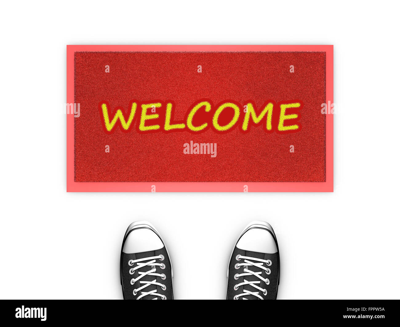 Concept illustration showing shoes in front of a Welcome red door map. - Stock Image