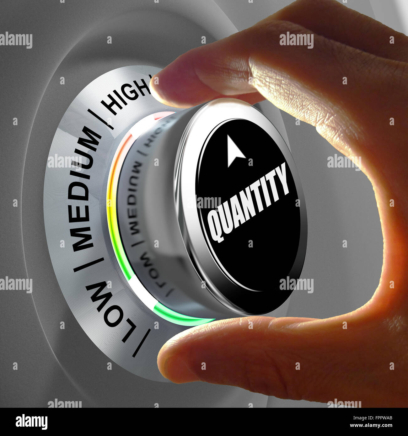 Hand adjusting the quantity. Concept illustration about optimization of items production or purchase. - Stock Image