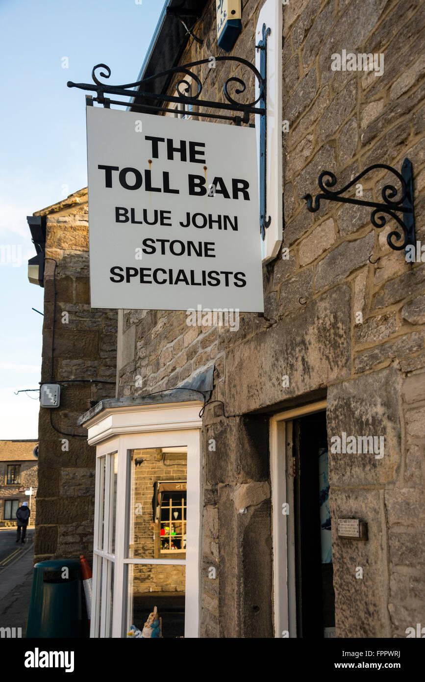 Toll Bar Shop and Sign, Castleton, Derbyshire - Stock Image