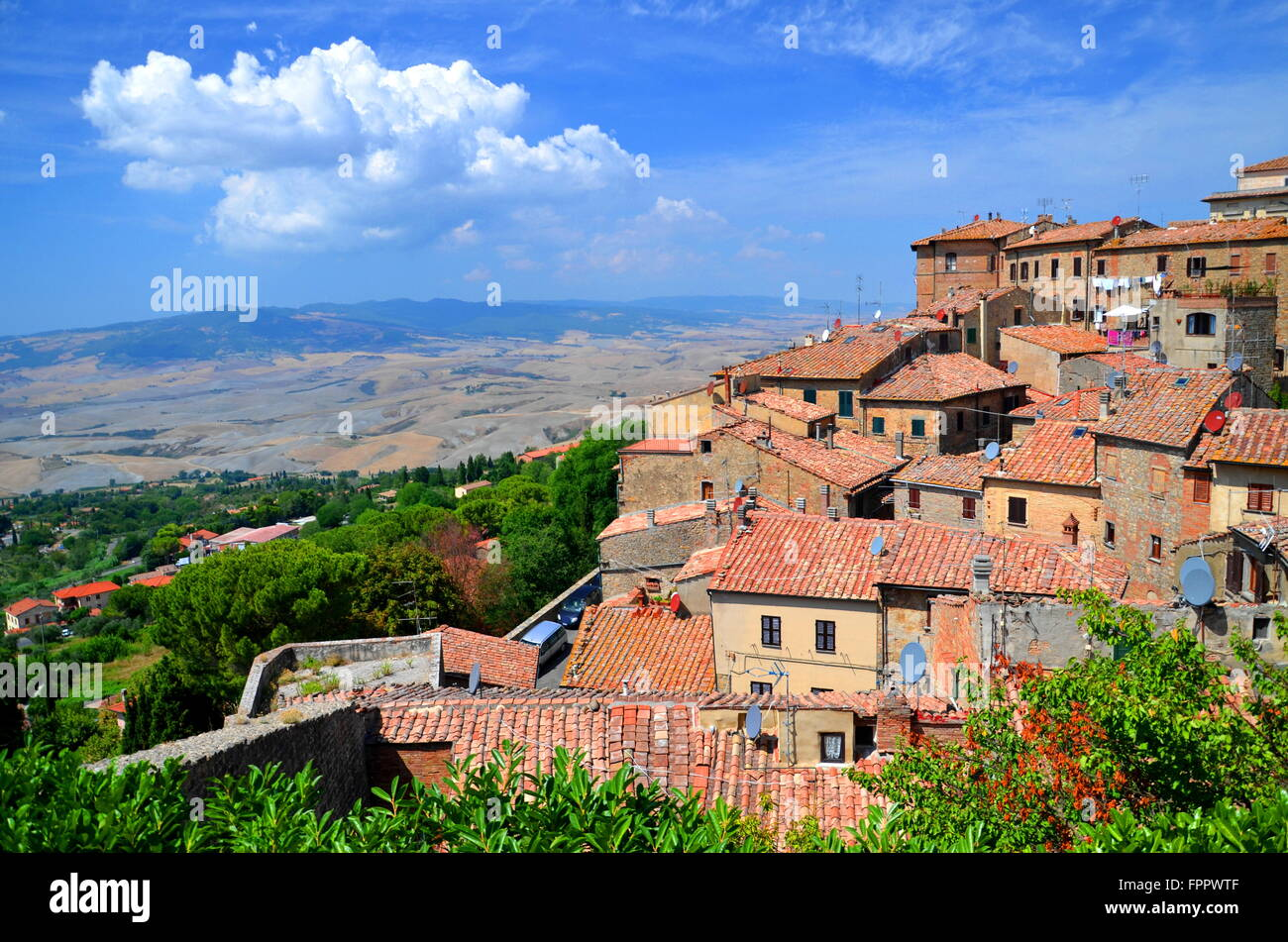 Spectacular view of the old town of Volterra in Tuscany, Italy - Stock Image