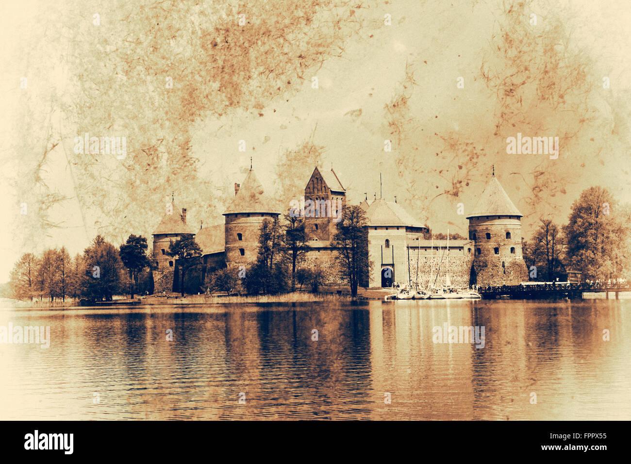 Trakai Island Castle, Lithuania. - Stock Image