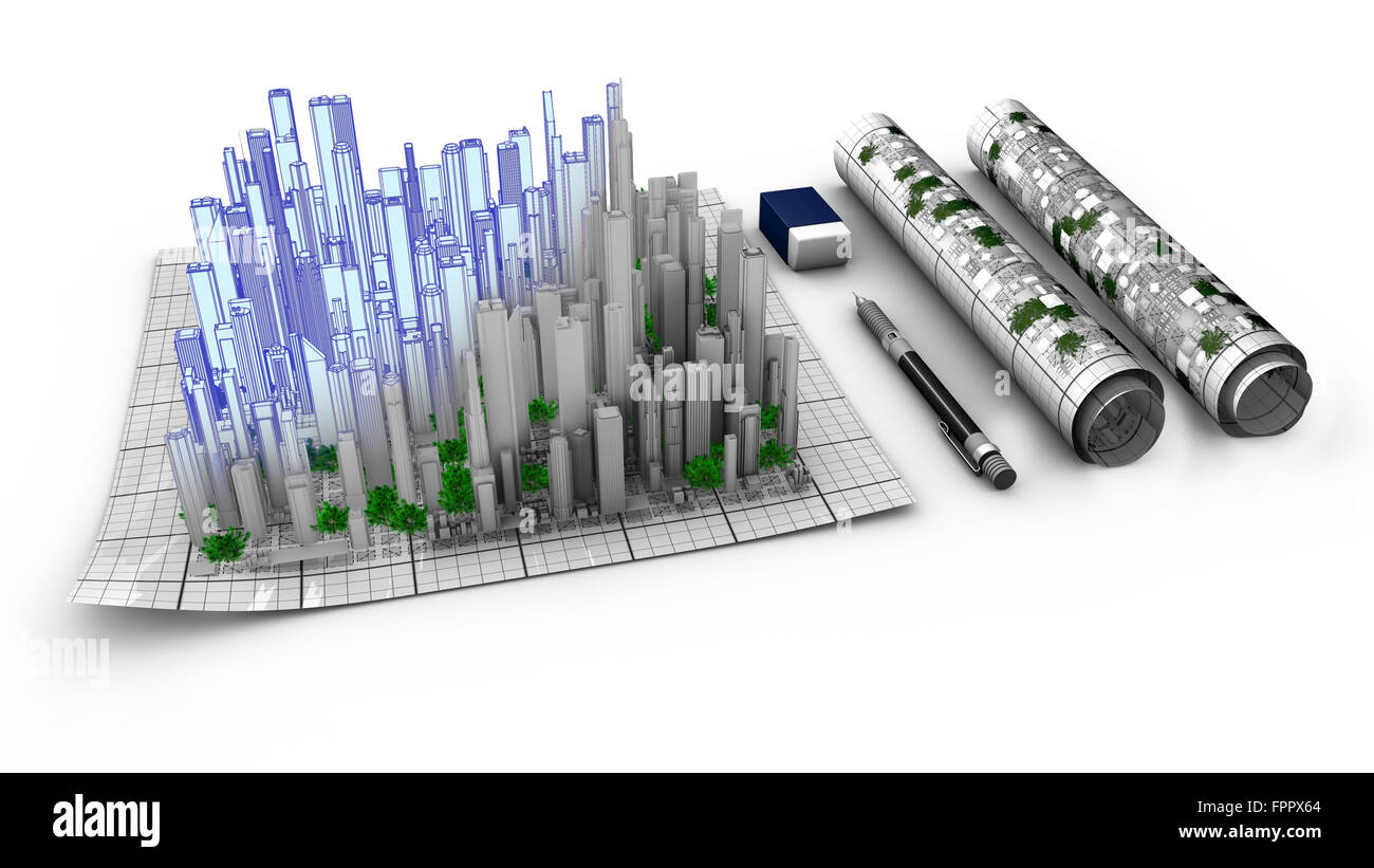 Concept of the architectural work about city creation. Schematics, map, from conception to realization. The city - Stock Image