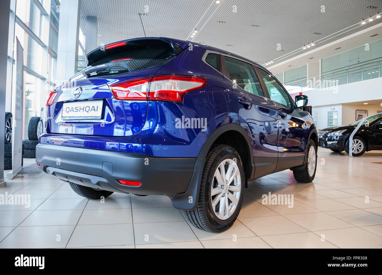 Presentation Nissan Qashqai at the office of official dealer Nissan - Stock Image