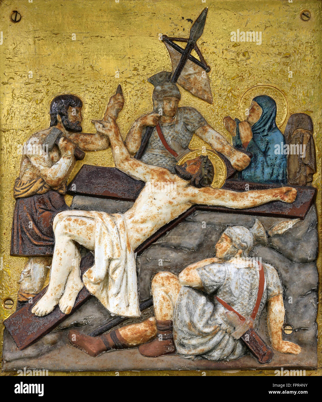 Jesus is nailed to the cross, 11th Stations of the Cross in Stock ...
