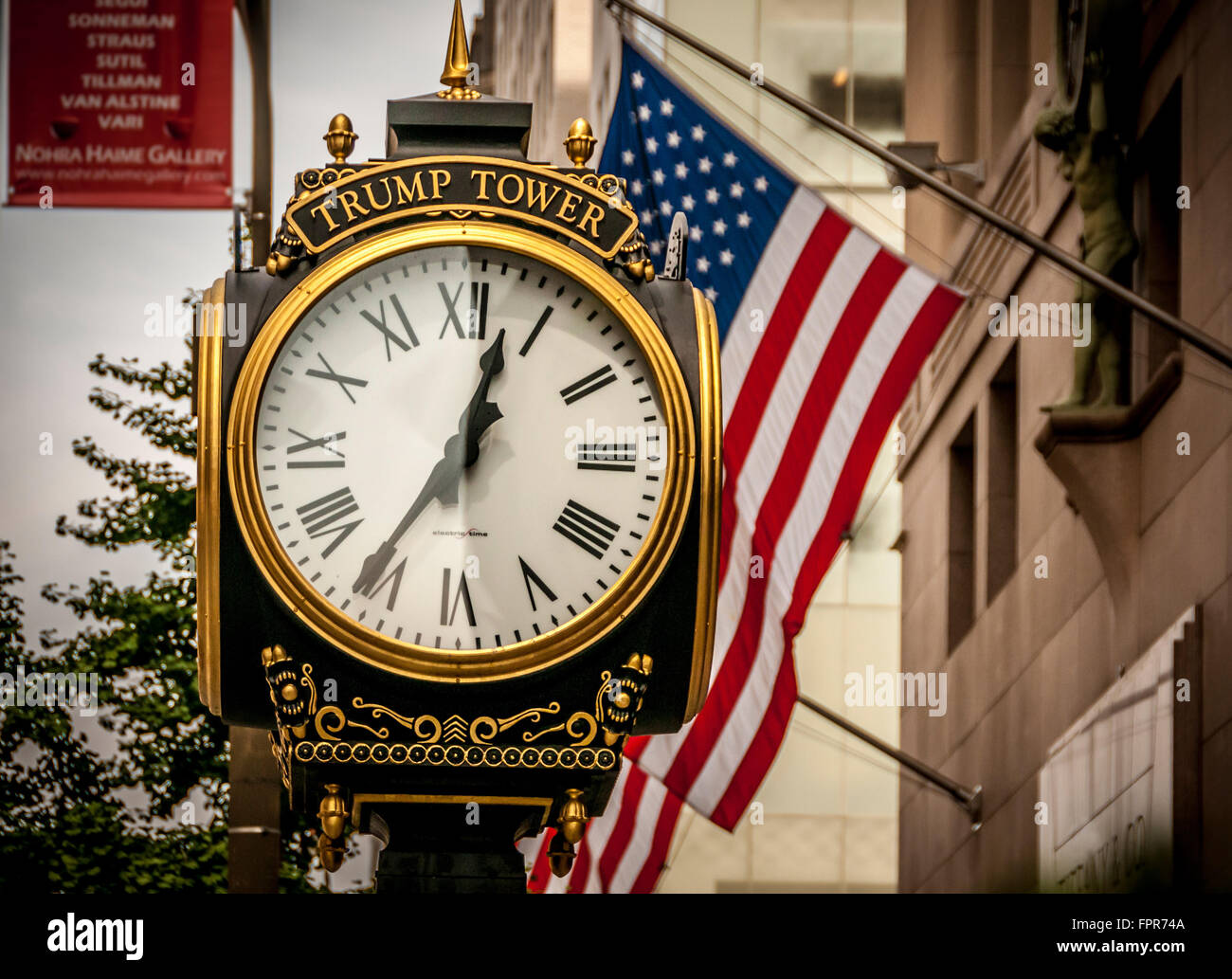 Clock outside Trump Tower, 5th Avenue, New York, USA. - Stock Image