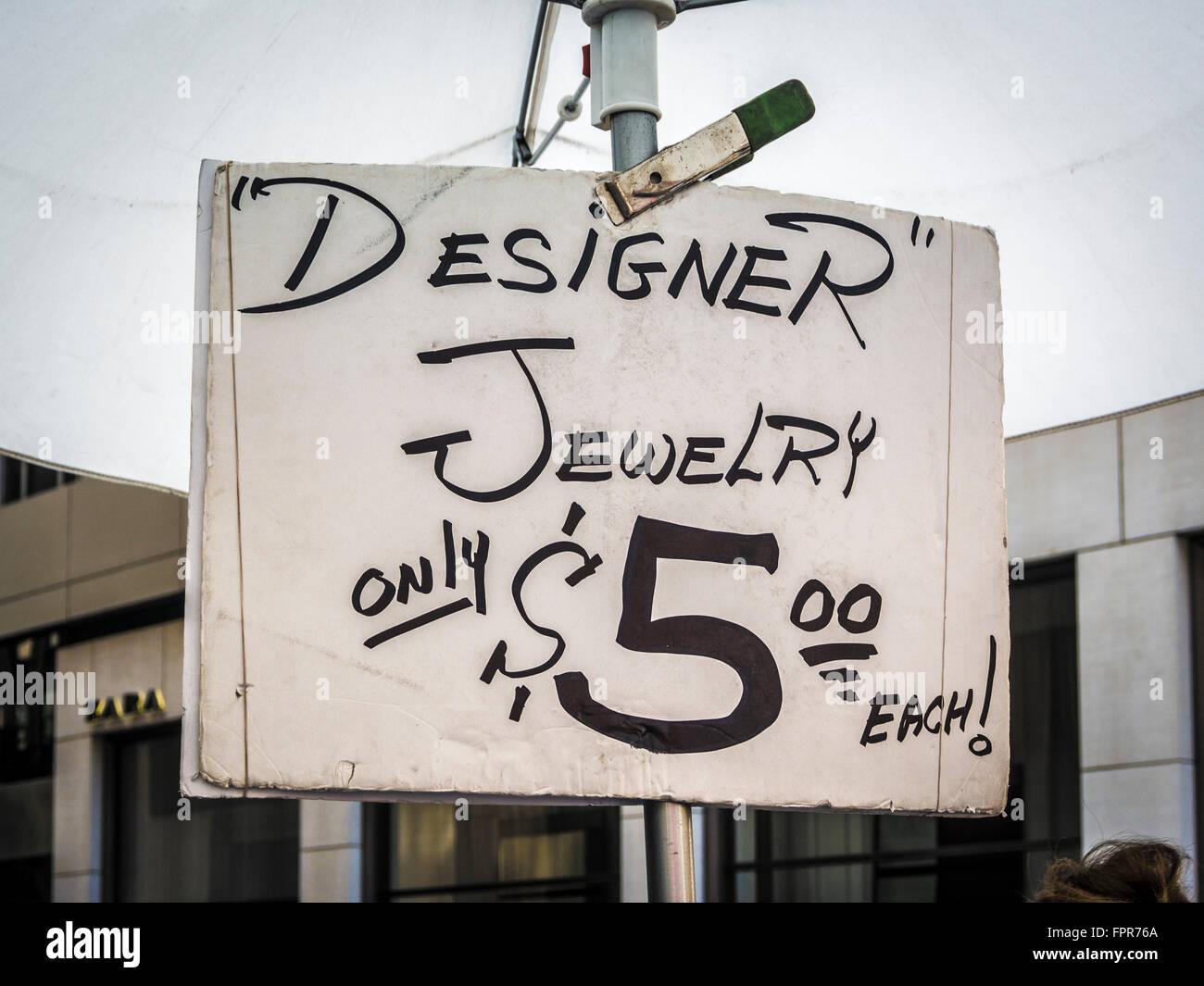 Cheap hand written Designer Jewelry sign, New York City, USA. - Stock Image