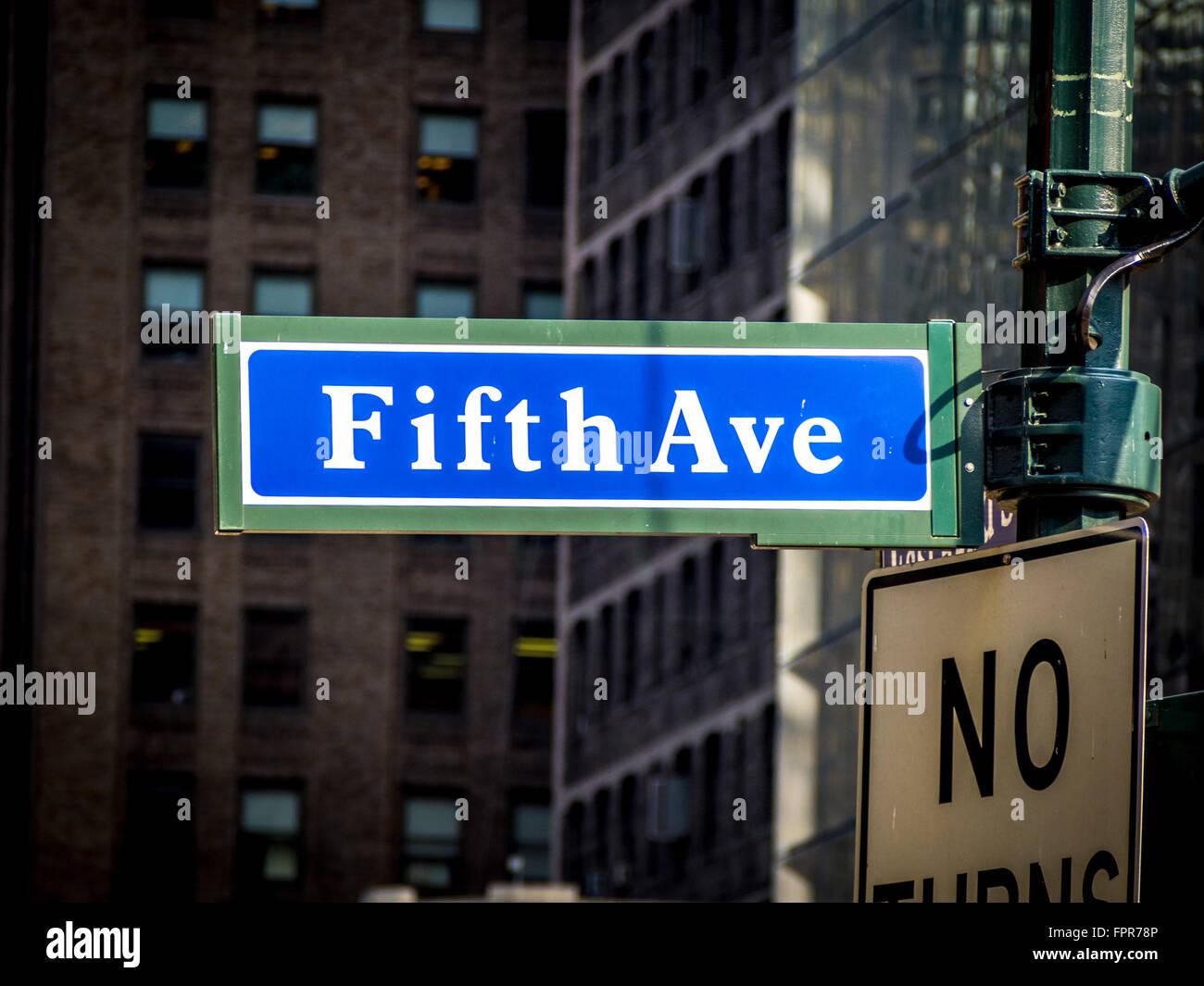 5th Avenue sign, New York, USA. - Stock Image