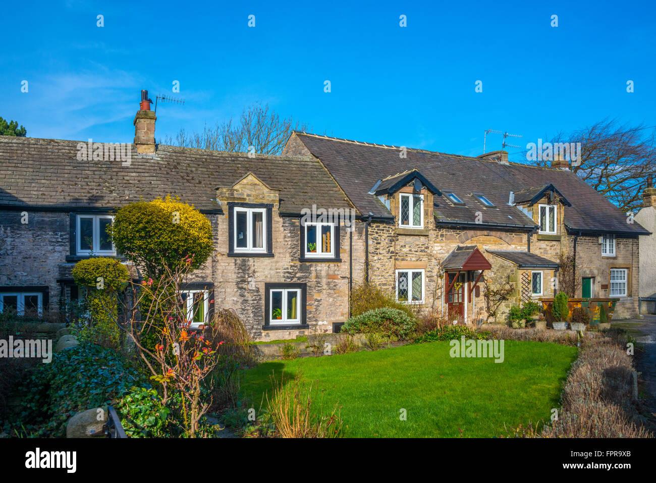 Cottages, Castleton, Derbyshire - Stock Image