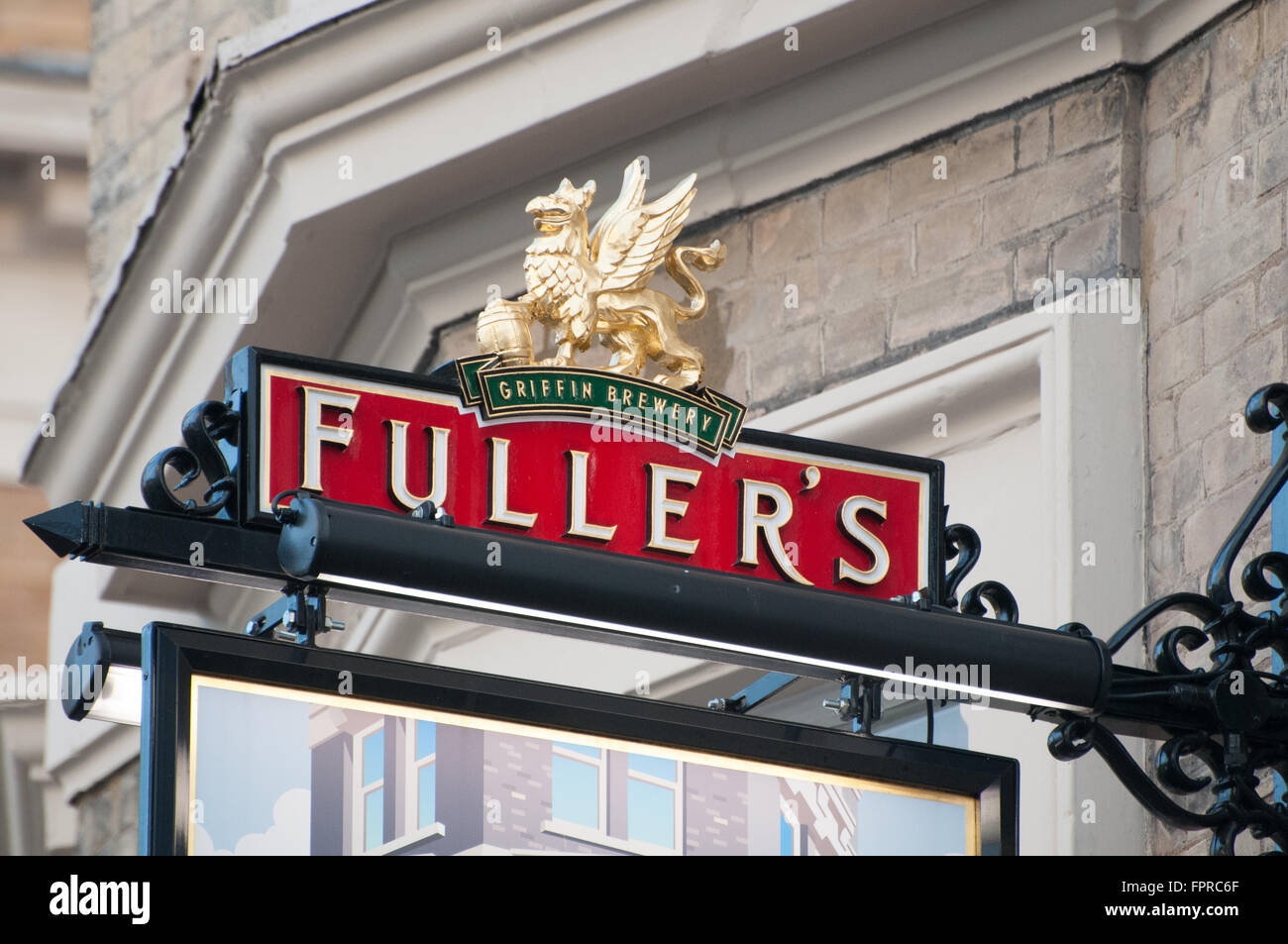 Fuller's Brewery Pub in Garrick Street,Covent Garden London exterior with sign. - Stock Image