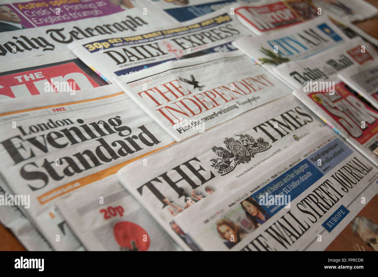 Selection of British National Newspapers as a montage. Stock Photo