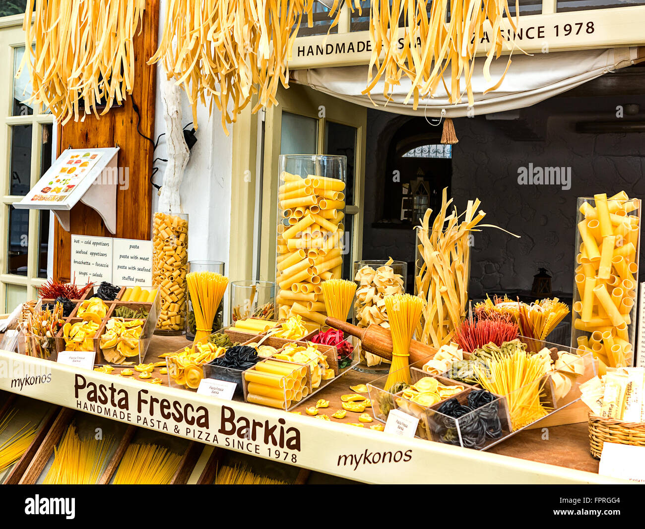 Homemade Pasta Shop in Mykonos, Greece - Stock Image