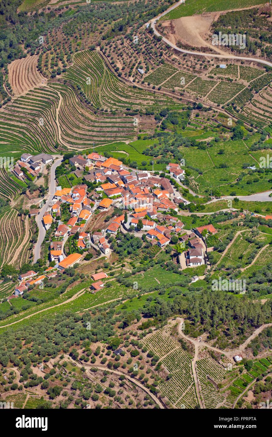 Geography/travel, Europe, Portugal, Alto Douro, Douro valley, village in the Alto Douro Wine Region, aerial view - Stock Image