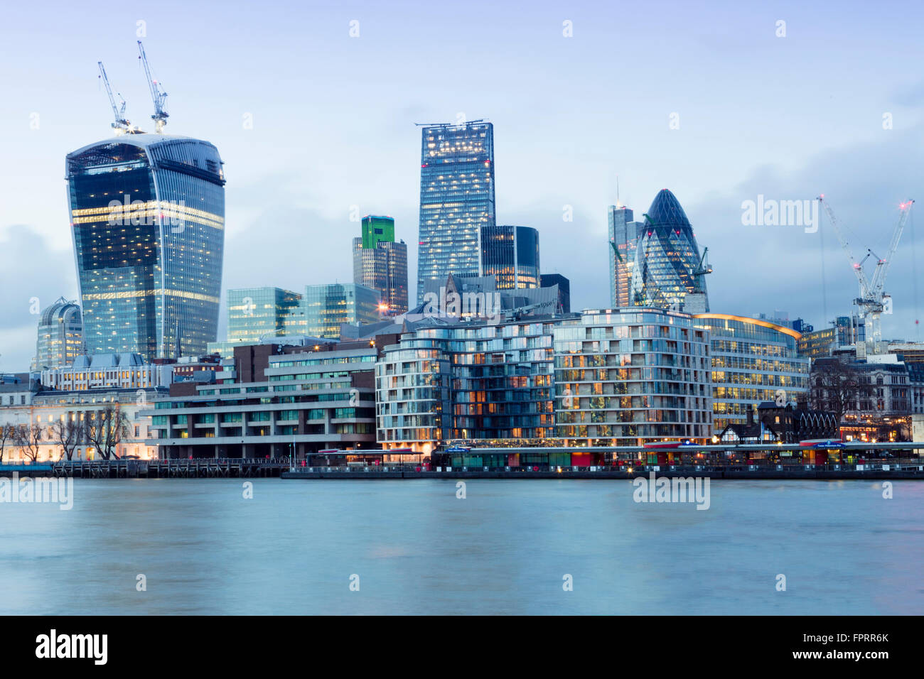 City of London skyline showing modern buildings by Richard Rogers, Norman Foster and Rafael Vinoly - Stock Image