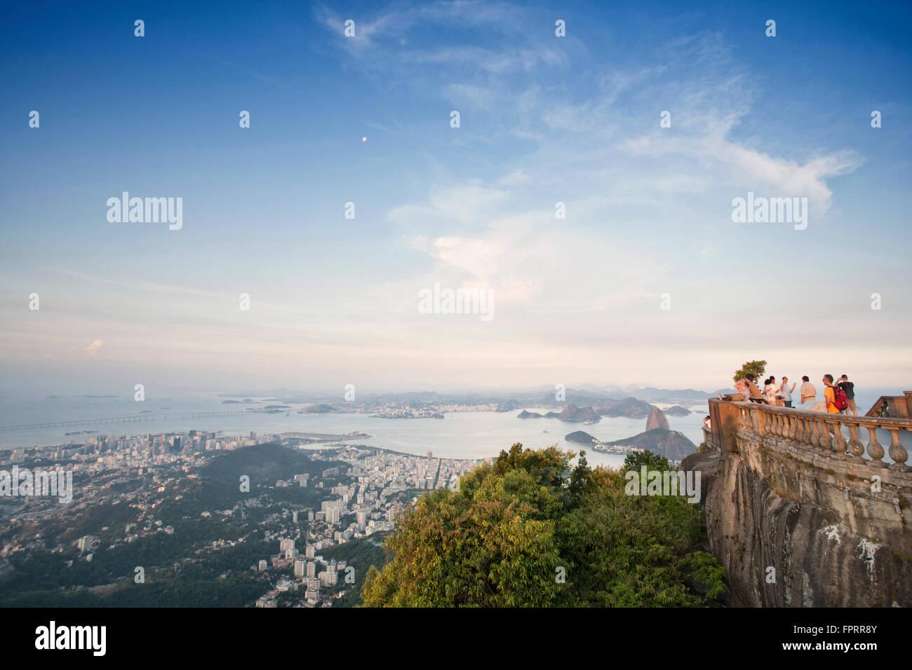 Rio de Janeiro, Corcovado, view of Guanabara Bay, Rio from the Christ statue, - Stock Image
