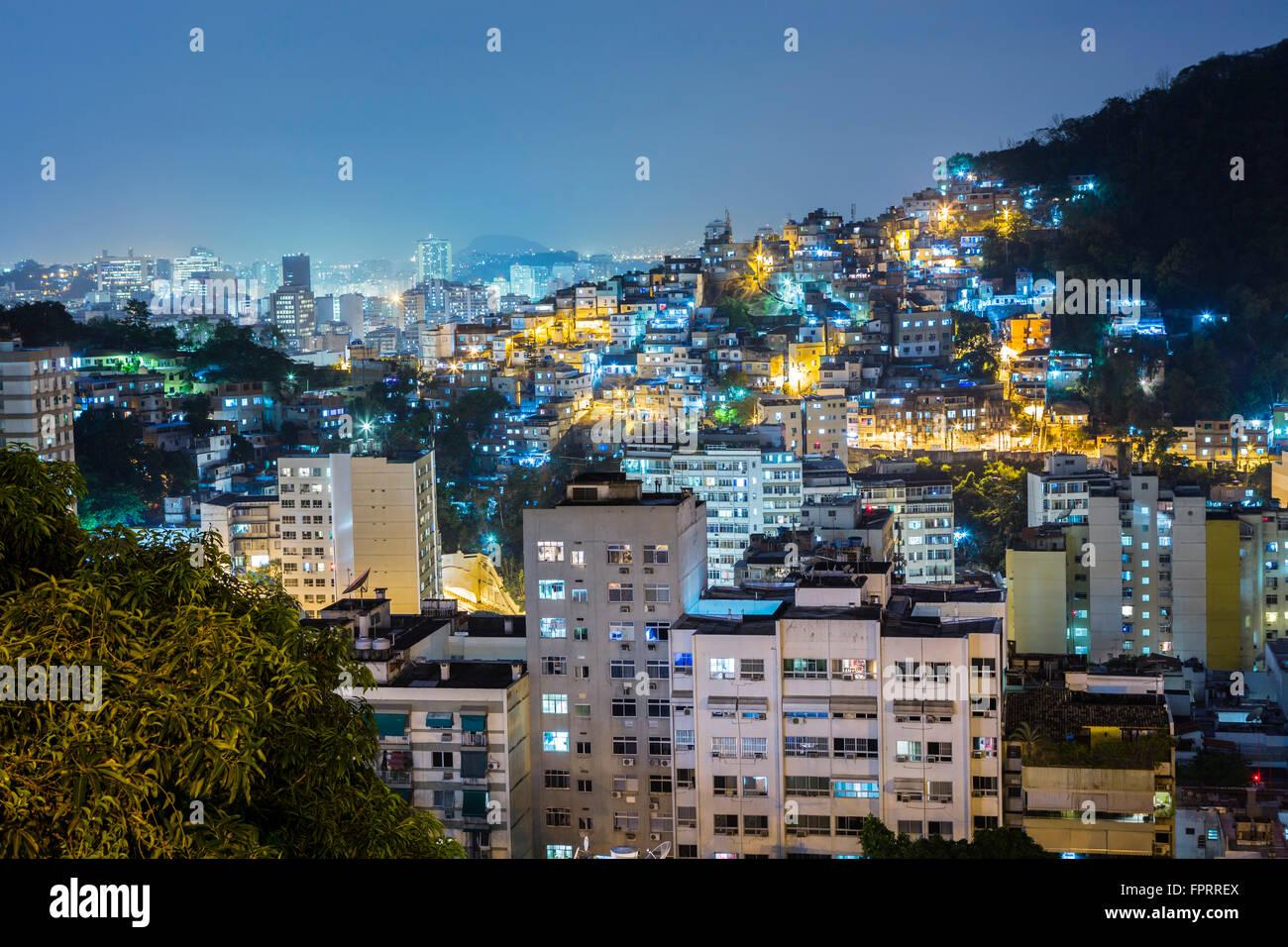 View of the Tabajaras favela and apartment blocks in urban Copacabana, Rio de Janeiro, Brazil Stock Photo